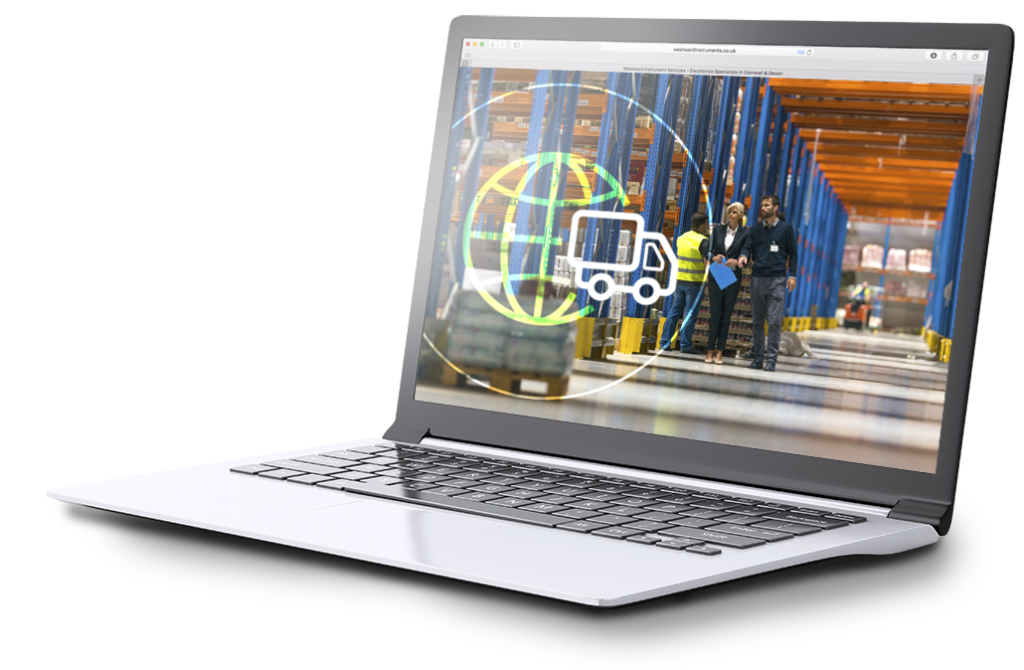 A laptop screen showing supply chain consultants in a warehouse